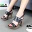 รองเท้าส้นสูงเสริมหน้า ส้น pu ลายไม้ 318311-BLK [สีดำ] thumbnail 1