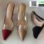 รองเท้าส้นสูงหัวแหลม สักหราด A178-A11-BLK [สีดำ] thumbnail 4