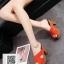 รองเท้าส้นตันสีส้ม ทรงแม็กซี่ สายคาดไขว้ (สีส้ม ) thumbnail 2