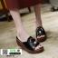 รองเท้าลำลองส้นเตารีด หน้าห่วง 1809-2-BLK [สีดำ] thumbnail 1