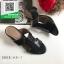 รองเท้าส้นตันเปิดส้นสีดำ สไตล์ Hermes (สีดำ ) thumbnail 1