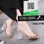 รองเท้าส้นสูงเปิดส้นสีชมพู แบบสวม พลาสติกนิ่มไม่บาดเท้า (สีชมพู ) thumbnail 3
