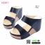 รองเท้าสไตล์ลำลองแบบสวมคาดหน้าสองตอน 981-77D5-BLK [สีดำ]
