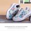 รองเท้าผ้าใบ แบบเสริมพื้นลายดอก W803-BLU [สีน้ำเงิน] thumbnail 2