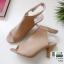 รองเท้าส้นสูงหน้าเต็ม งานสไตล์ปราด้า รัดข้อ 1202-ครีม [สีครีม] thumbnail 3