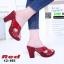 รองเท้าลำลองเปิดส้น หนังแก้วนิ่ม ส้นไม้ 12-103-RED [สีแดง] thumbnail 2