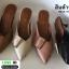 รองเท้าหัวแหลมเปิดส้น หน้าแต่งเข็มขัด A026-0505-TAN [สีแทน] thumbnail 4