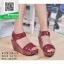 รองเท้าส้นเตารีดรัดส้นสีแดง สายรัดเมจิกเทป (สีแดง ) thumbnail 2