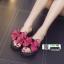รองเท้าแตะส้นเตารีดประดับโบว์ CHT-SG05-DPNK [สีชมพูเข้ม] thumbnail 3