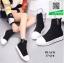 รองเท้าผ้าใบหุ้มข้อสีดำ ผ้าไหมพรม (สีดำ ) thumbnail 1