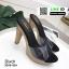 รองเท้าส้นสูงเปิดส้น ส้นไม้ หน้าใส 3006-92A-BLK [สีดำ] thumbnail 3