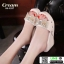 รองเท้าลำลองส้นเตารีด 18-1357-CRE [สีครีม] thumbnail 2