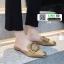 รองเท้าหัวแหลมเปิดส้น หนังชามัวร์นิ่ม 018-KHA [สีกากี] thumbnail 3