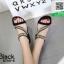 รองเท้าแตะรัดส้นสีดำ แบบไขว้แต่งอะไหล่สวยงาม (สีดำ ) thumbnail 2