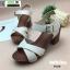 รองเท้าลำลองรัดส้น หนังนิ่ม ส้นไม้ 1630-WHI [สีขาว] thumbnail 5