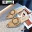 รองเท้าหัวแหลมเปิดส้น หนังชามัวร์นิ่ม 018-KHA [สีกากี] thumbnail 4
