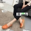 รองเท้าผ้าใบแบบสวม วัสดุหนังวัว แท้100% N926-ORG [สีส้ม] thumbnail 3