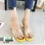 รองเท้าส้นสูงเปิดส้น หน้าใสลายจุด Q-483-YEL [สีเหลือง] thumbnail 1