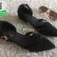 รองเท้าส้นเตี้ยรัดส้นสีดำ Ankle Strap Pointy Toe Flat (สีดำ ) thumbnail 3