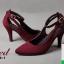 รองเท้าคัทชูส้นสูงสีแดง หัวแหลม เว้าด้านข้าง (สีแดง ) thumbnail 2
