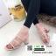 รองเท้าส้นสูงวัสดุหนังนิ่ม ดีไซน์งานเส้น ส้นเหลี่ยม 998-02-ครีม [สีครีม] thumbnail 3