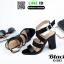 รองเท้าส้นสูงรัดข้อ ไขว้หน้า G1283-BLK [สีดำ]