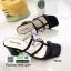 รองเท้าส้นสูงวัสดุหนังนิ่ม ดีไซน์งานเส้น ส้นเหลี่ยม 998-02-ดำ [สีดำ] thumbnail 1