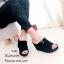 รองเท้าส้นเตารีด กำมะหยี่ หน้าเข็มขัด LK605-ดำ [สีดำ] thumbnail 1