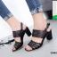 รองเท้าส้นสูงรัดส้นสีดำ สายคาดหน้าหนังนิ่มฉลุลาย (สีดำ ) thumbnail 3