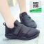 รองเท้าผ้าใบหุ้มข้อสีดำ แบบผูกเชือกแฟชั่น (สีดำ ) thumbnail 1
