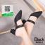 รองเท้าส้นตันหัวแหลมสีดำ หนังนิ่มผสมกริตเตอร์ (สีดำ ) thumbnail 2
