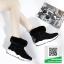 รองเท้าบูทเกาหลีสีดำ หนังวัวนิ่ม บุขน (สีดำ ) thumbnail 2
