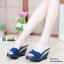 รองเท้าส้นเตารีดแบบสวม SJ337-BLU [สีน้ำเงิน] thumbnail 2