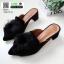 รองเท้าหน้าแหลม หนังสักหราด แต่งพู่ครอเซต สวยเด่น 1072-731-ดำ [สีดำ] thumbnail 3