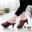 รองเท้าส้นสูงหน้าเต็ม พื้น pu หนังลื่นๆ 2303-น้ำตาล [สีน้ำตาล ] thumbnail 1