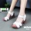 รองเท้าลำลองรัดส้น หนังนิ่ม ส้นไม้ 1630-WHI [สีขาว]