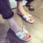 รองเท้าแตะเปิดส้น สไตล์ H ฉลุลาย G-1415-WHI (สีขาว) thumbnail 3