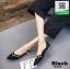 รองเท้าคัทชูส้นเตี้ยสีดำ หัวแหลม แต่งมุก (สีดำ ) thumbnail 3