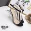 รองเท้าส้นแก้วแบบใหม่ หน้าสวม pu ใส 816-5-BLK [สีดำ]