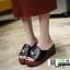 รองเท้าลำลองส้นเตารีด หน้าห่วง 1809-2-BLK [สีดำ] thumbnail 2