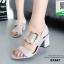 รองเท้าส้นตันรัดส้นสีเทา แต่งอะไหล่เข็มขัด (สีเทา ) thumbnail 1