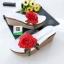รองเท้าส้นเตารีดสีขาว แต่งดอกกุหลาบสีแดง (สีขาว ) thumbnail 3