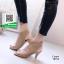 รองเท้าส้นสูงรัดข้อสีครีม สไตล์ปราด้า (สีครีม )