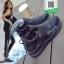 รองเท้าผ้าใบหุ้มข้อสีดำ แบบผูกเชือกแฟชั่น (สีดำ ) thumbnail 3