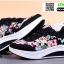 รองเท้าผ้าใบ แบบเสริมพื้นลายดอก W803-BLK [สีดำ] thumbnail 3