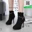 รองเท้าบูทส้นสูงสีดำ แต่งหมุด สไตล์ Korea (สีดำ )
