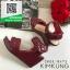 รองเท้าส้นเตารีดรัดส้นสีแดง สายรัดเมจิกเทป (สีแดง ) thumbnail 3