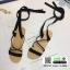 รองเท้าแตะสายคาดไขว้ หนังสักราจ G-1264-BLK [สีดำ] thumbnail 5
