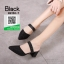 รองเท้าส้นตันหัวแหลมสีดำ หนังนิ่มผสมกริตเตอร์ (สีดำ )