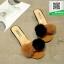 รองเท้าส้นเตี้ยสีน้ำตาล แต่งขนเฟอร์ Stly Korea (สีน้ำตาล ) thumbnail 3